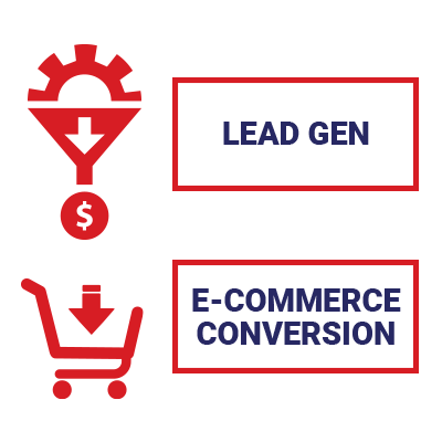 Illustration of lead gen and e-commerce campaigns